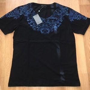 ALEXANDER MCQUEEN Blue Floral Print V-Neck T-Shirt
